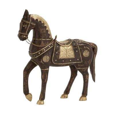 Ever Ready Wood Brass Horse Figurine by Woodland Imports