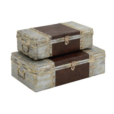 Woodland Imports Antique 2 Piece Metal Leather Case Set