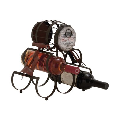Unique Barrel Themed Antique 5 Bottle Tabletop Wine Rack by Woodland Imports