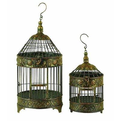 Woodland Imports 2 Piece Decorative Metal Bird Cage Set ...