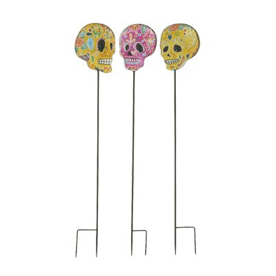3 Piece Appealing Skull Garden Stake Decoration by Woodland Imports