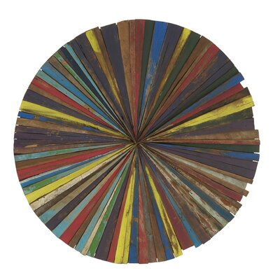 Vibrant Wood Round Wall Decor by Woodland Imports