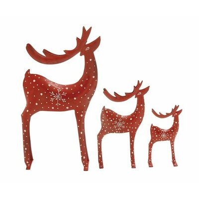 3 Piece tylishly Designed Deer Christmas Decoration Set by Woodland Imports