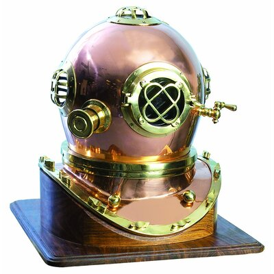 Decorative Brass Diving Helmet Statue by Woodland Imports