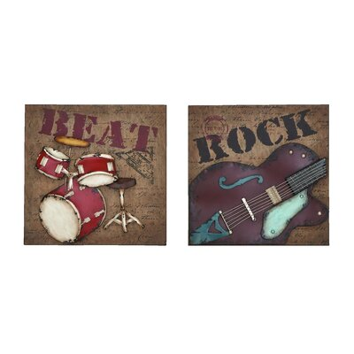 Woodland Imports 2 Piece Rock and Roll Wall Décor Set