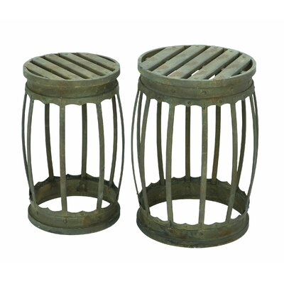 Woodland Imports 2 Piece Barrel Bar Stool Set