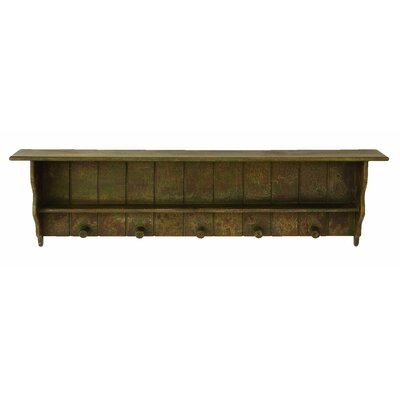 Woodland Imports Free Hanging Wall Shelf with Coat Rack