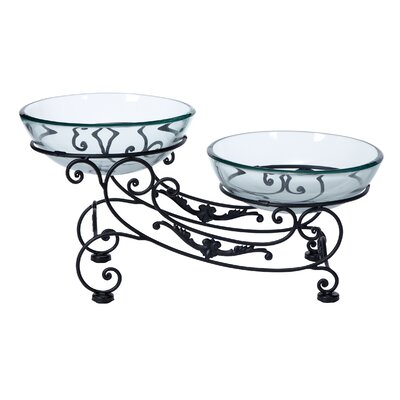 Double Glass and Metal Decorative Bowl by Woodland Imports