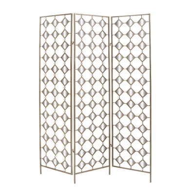 "Woodland Imports 71"" x 51"" 3 Panel Mirror Room Divider"