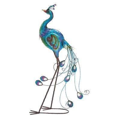 Italian Styled Peacock Décor Statue by Woodland Imports