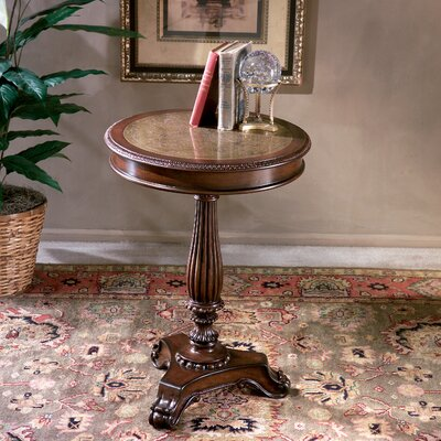 Heritage Etched Brass Round End Table by Butler