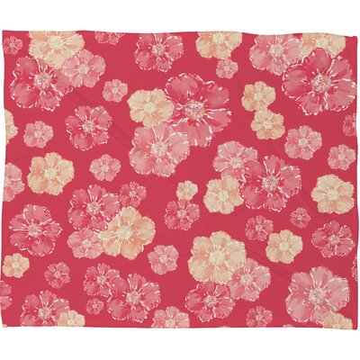 Lisa Argyropoulos Blossoms On Coral Fleece Throw Blanket by DENY Designs