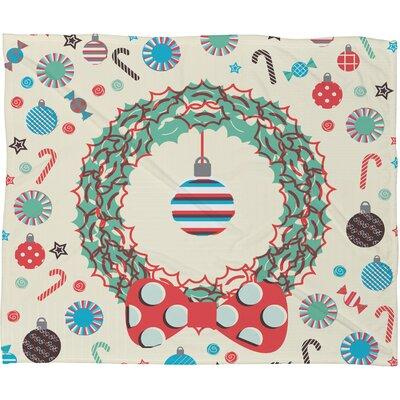 Sam Osborne Christmas Wreath Plush Fleece Throw Blanket by DENY Designs