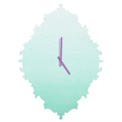 Social Proper Mint Ombre Wall Clock by DENY Designs