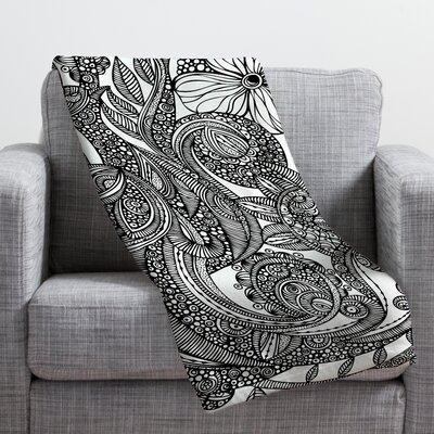 Valentina Ramos Bird in Flowers Black White Throw Blanket by DENY Designs
