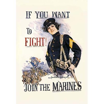 If You Want to Fight! Join the Marines by Howard Chandler Christy Vintage Advertisement by ...