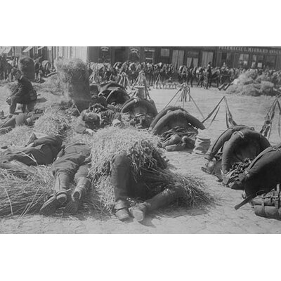 'French Soldiers in Full Pack Bed Down on Straw After A Long March' Photographic Print ...