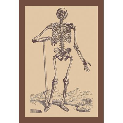 Buyenlarge Skeleton with Shovel by Versalius Graphic Art on Wrapped Canvas