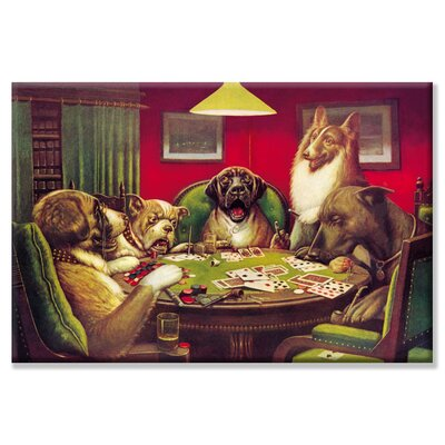 Buyenlarge Dog Poker - 'Stun, Shock and the Win' by C.M. Coolidge Painting Print on Wrapped Canvas