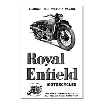 Buyenlarge Royal Enfield Motorcycles Leading the Victory Parade Vintage Advertisement on Wrapped Canvas
