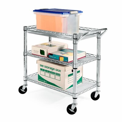 Seville Classics UltraZinc Three Shelf NSF Commercial Steel Wire Utility Cart