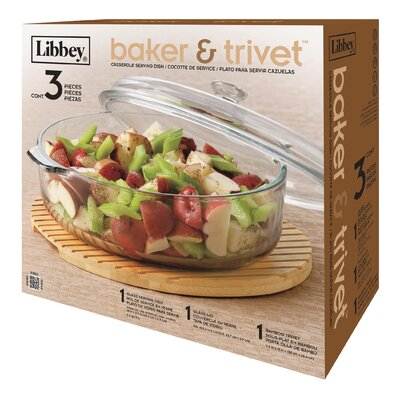 3.2 qt Baker and Trivet Covered Casserole by Libbey