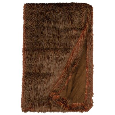 Ostrich Burgundy Faux Fur Throw by Wooded River