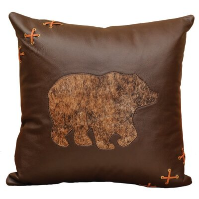 Wooded River Decorative Bear Cut Out Leather/Suede Throw Pillow