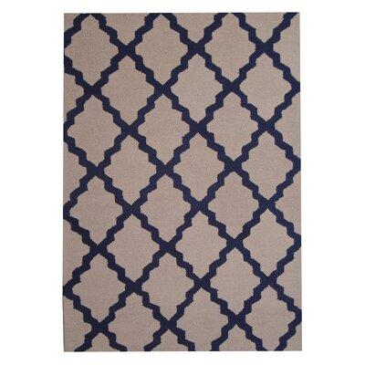 Hand-Tufted Beige/Navy Wool Indoor Area Rug by Herat Oriental
