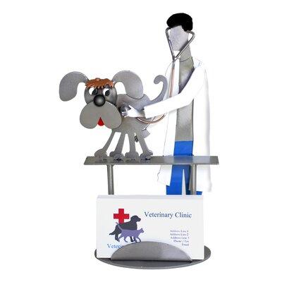H & K SCULPTURES Veterinarian Examining Dog Business Card Holder