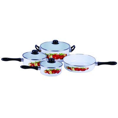 Traditional Fruit Design Enamel 7 Piece Cookware Set by Gourmet Chef