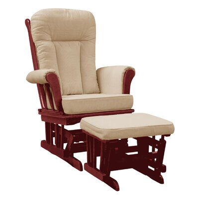 Dream On Me Elysium Glider Rocker and matching Ottoman ,Cherry Glider with Beige Cushion and Ottoman