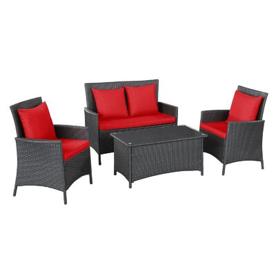 Modway Flourish 4 Piece Seating Group with Cushions