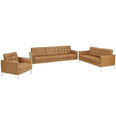 Loft 3 Piece Leather Sofa Set by Modway