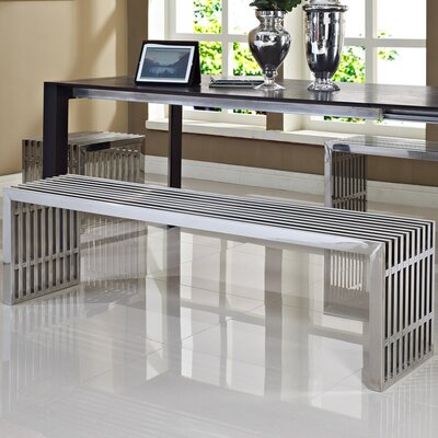 Gridiron Stainless Steel Bench by Modway