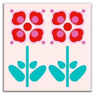 """Oscar & Izzy Folksy Love 6"""" x 6"""" Satin Decorative Tile in Pressed Flowers Red"""