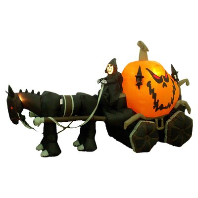 BZB Goods Halloween Inflatable Skeleton Ghost Driving Carriage Decoration