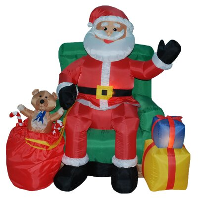 Christmas Inflatables Animated Santa on Chair by BZB Goods