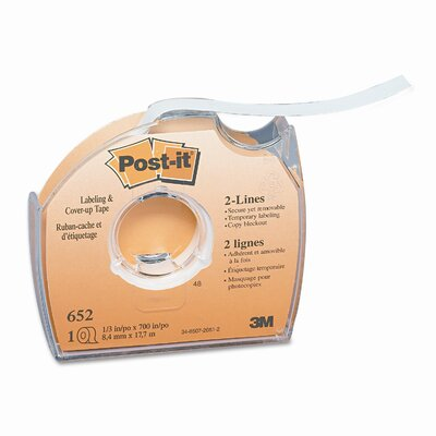 """3M Removable Cover-Up Tape, Non-Refillable, 1/3"""" x 700"""" roll"""