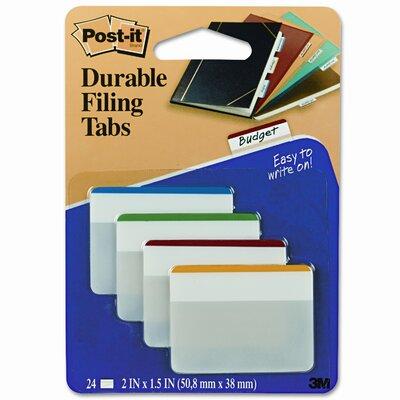3M Durable Color Bar Index File Tabs, 2w x 1-3/4h, Five Colors, 24/pack