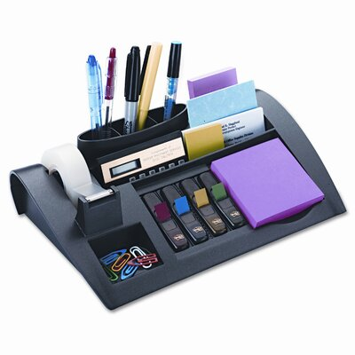 3M Notes Dispenser w/Weighted Base, Plastic, 11 7/8 x 2 1/2 x 7 3/4, Gray