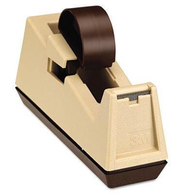 """3M Heavy Duty Weighted Desktop Tape Dispenser, 3"""" core, Plastic, Putty/Brown"""