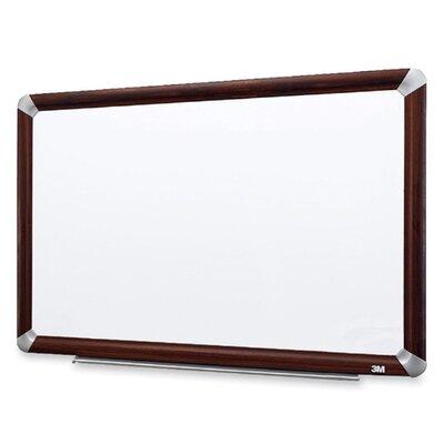 3M Dry-Erase Board, Melamine, Mahogany Frame