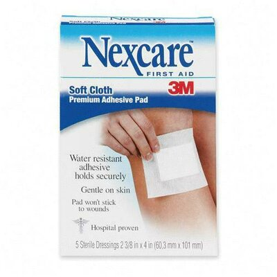 "3M Adhesive Gauze Pad, Hypoallergenic, 2-3/8""x3"", 3-Ply, 5 per Pack"