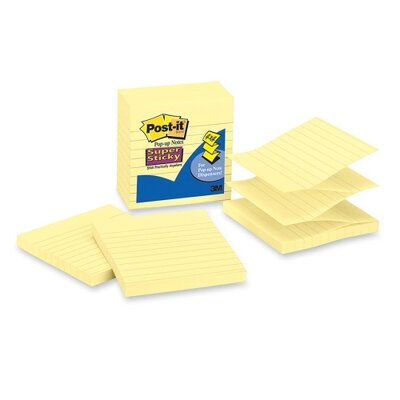 """3M Super Sticky Pop-up Notes, Lined, 4""""x4"""", 90 Sheets, Yellow, 5-Pack"""
