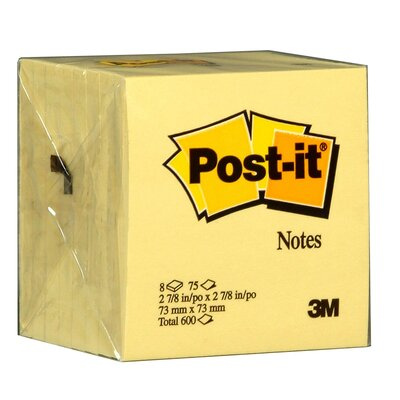 "3M 3"" x 3"" 75 Sheet Canary Yellow Post-It Note"