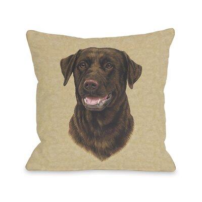 Doggy Décor Chocolate Lab Head Throw Pillow by One Bella Casa