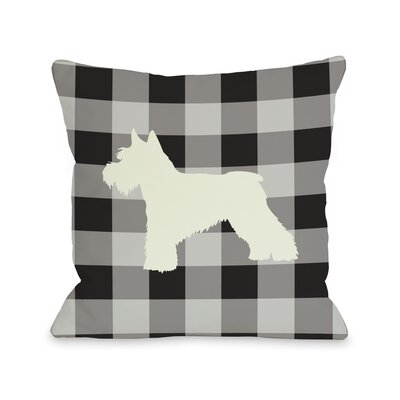 Doggy Décor Gingham Silhouette Schnazuer Throw Pillow by One Bella Casa