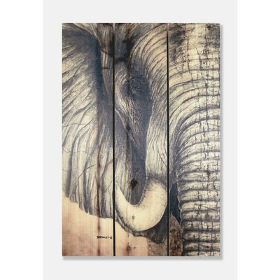 Signature 1 African Elephant Full Color Cedar Wall Art by Gizaun Art