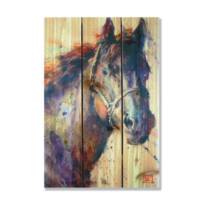 Signature 1 Stallion Full Color Cedar Wall Art in Black by Gizaun Art
